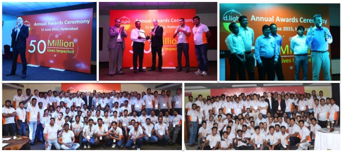 Collage of d.light's award ceremonies in India and Kenya.