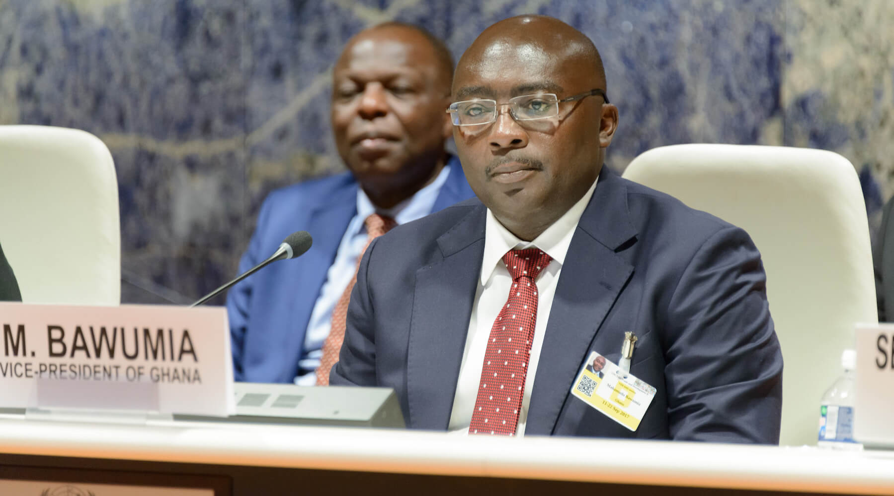 The vice president of Ghana, Mahamudu Bawumia, speaks on a panel