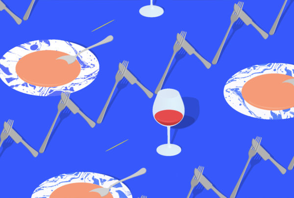 An illustration for Jeffersonian Dinners with forks, knives, soup bowls, and wine glasses