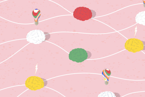 colorful brains, lightbulbs, and lightning bolts floating in a pink scene